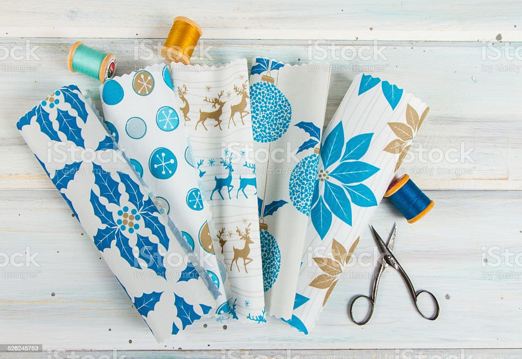 Fabric Samples With Sewing Notions stock photo