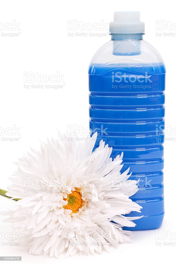 Fabric softener with flower stock photo