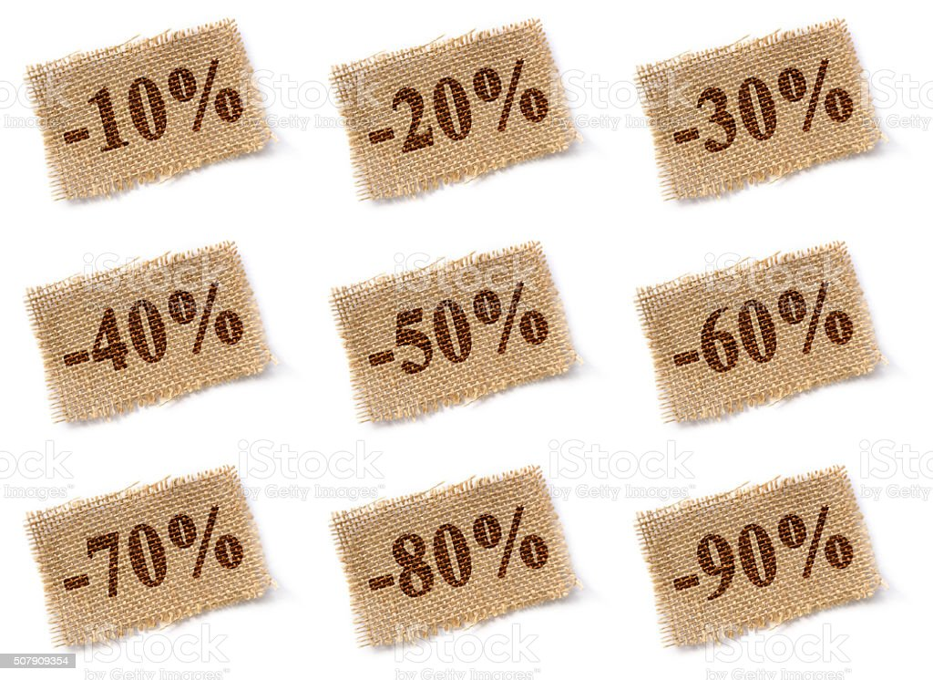 Fabric tag with discounts set stock photo