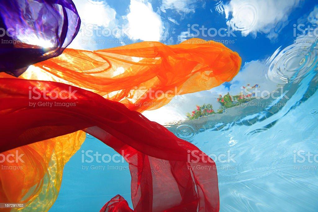fabric underwater stock photo