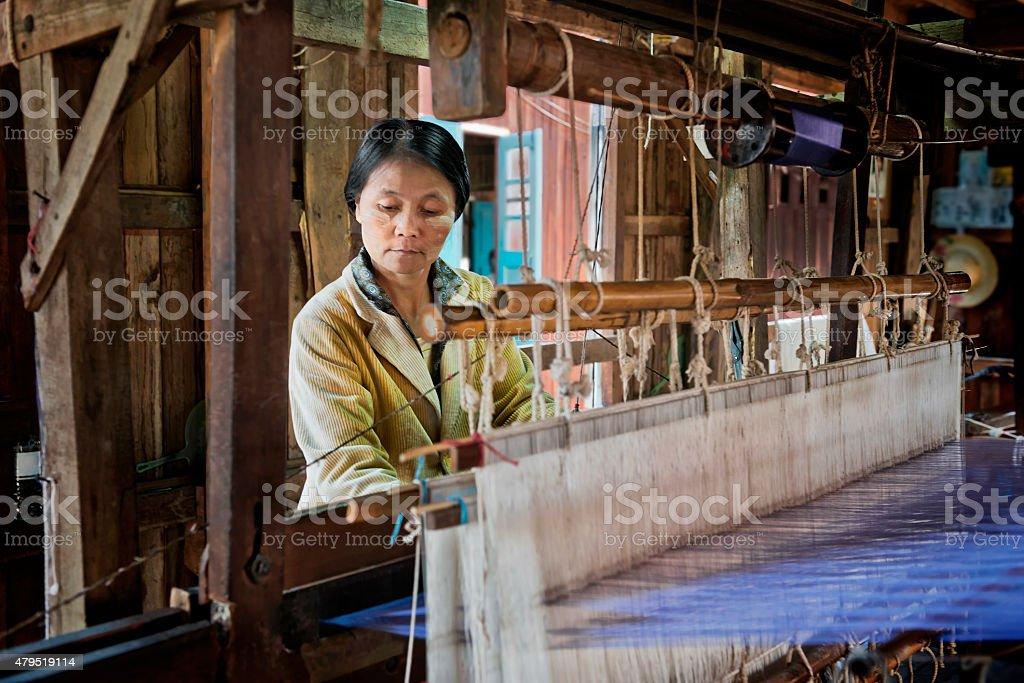 Fabric Weaving stock photo