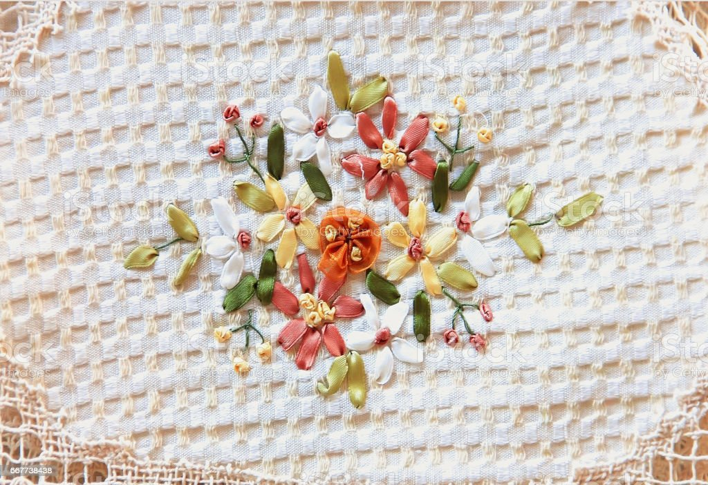fabric with embroidered ribbons for background and texture stock photo