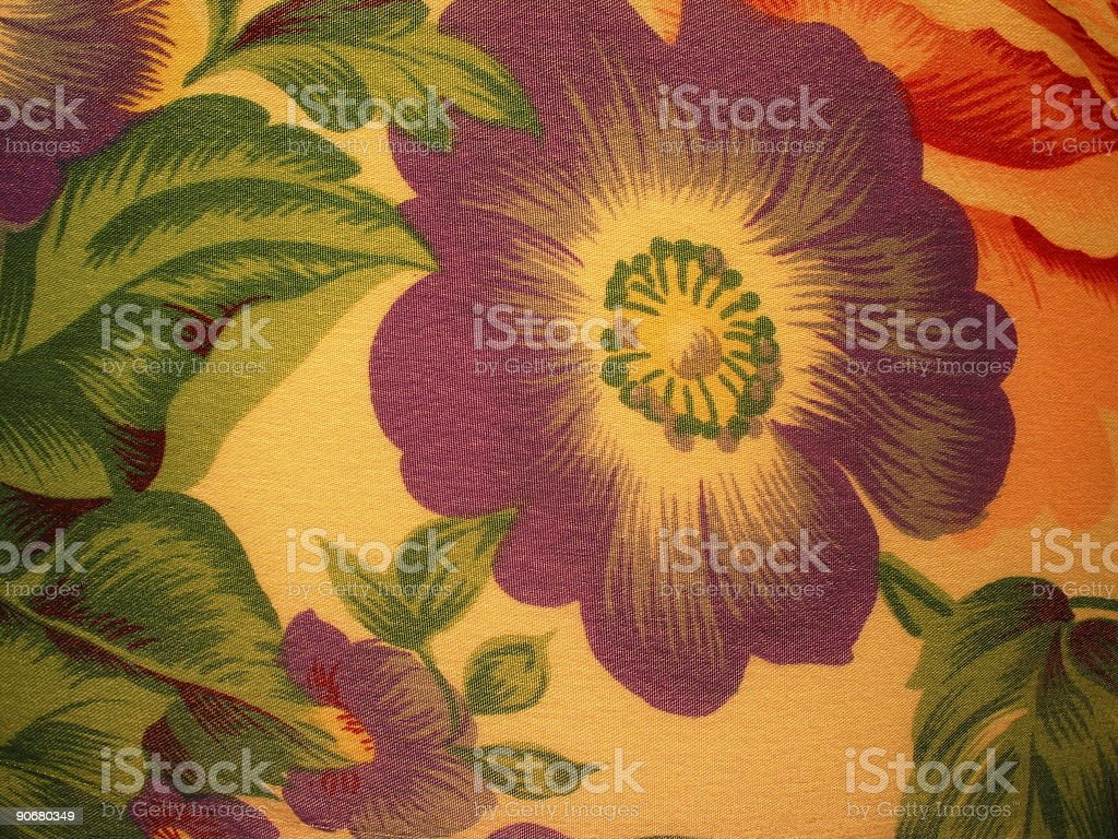 Fabric with Purple Flower stock photo