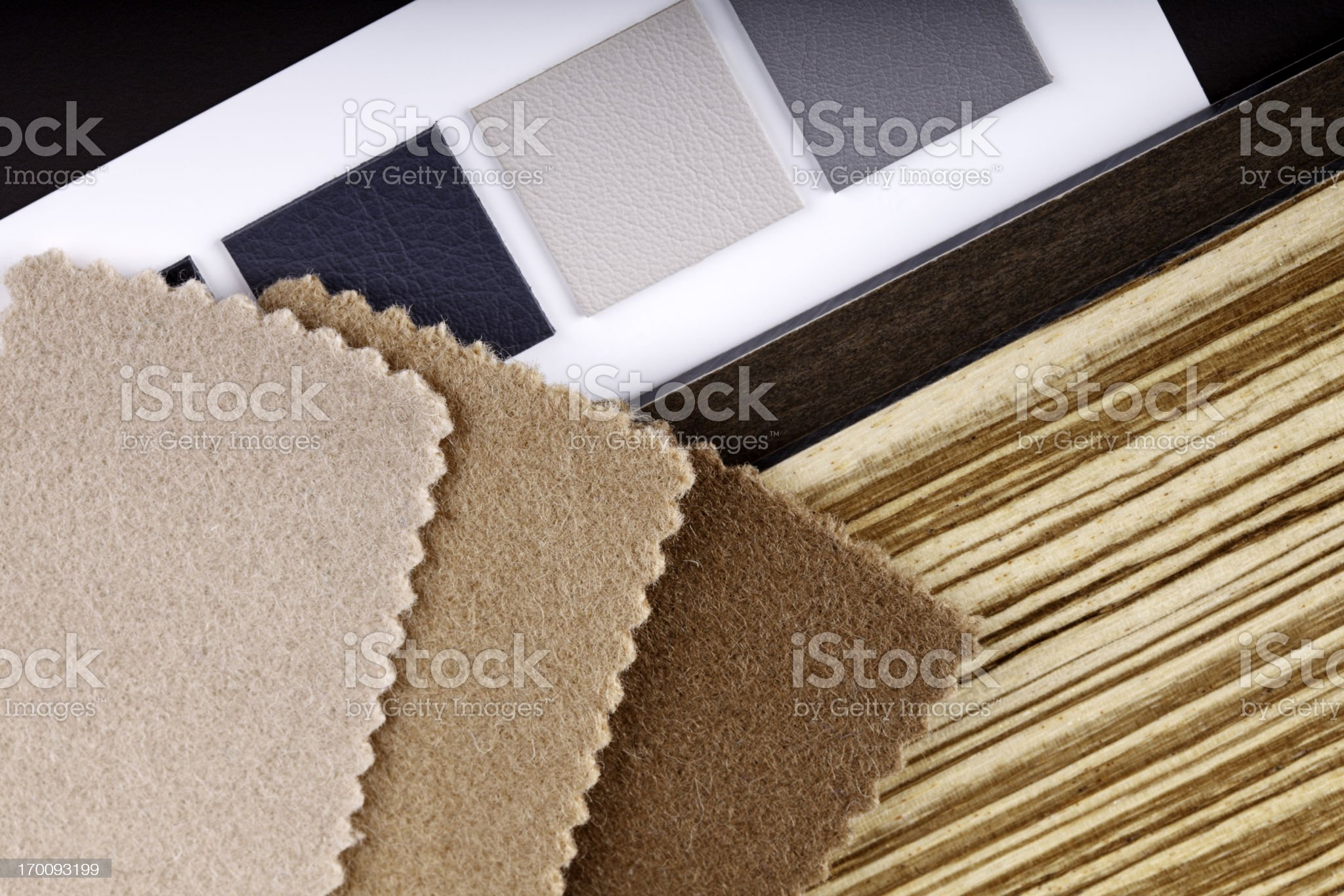 Fabric, Wood and Leather Swatches royalty-free stock photo