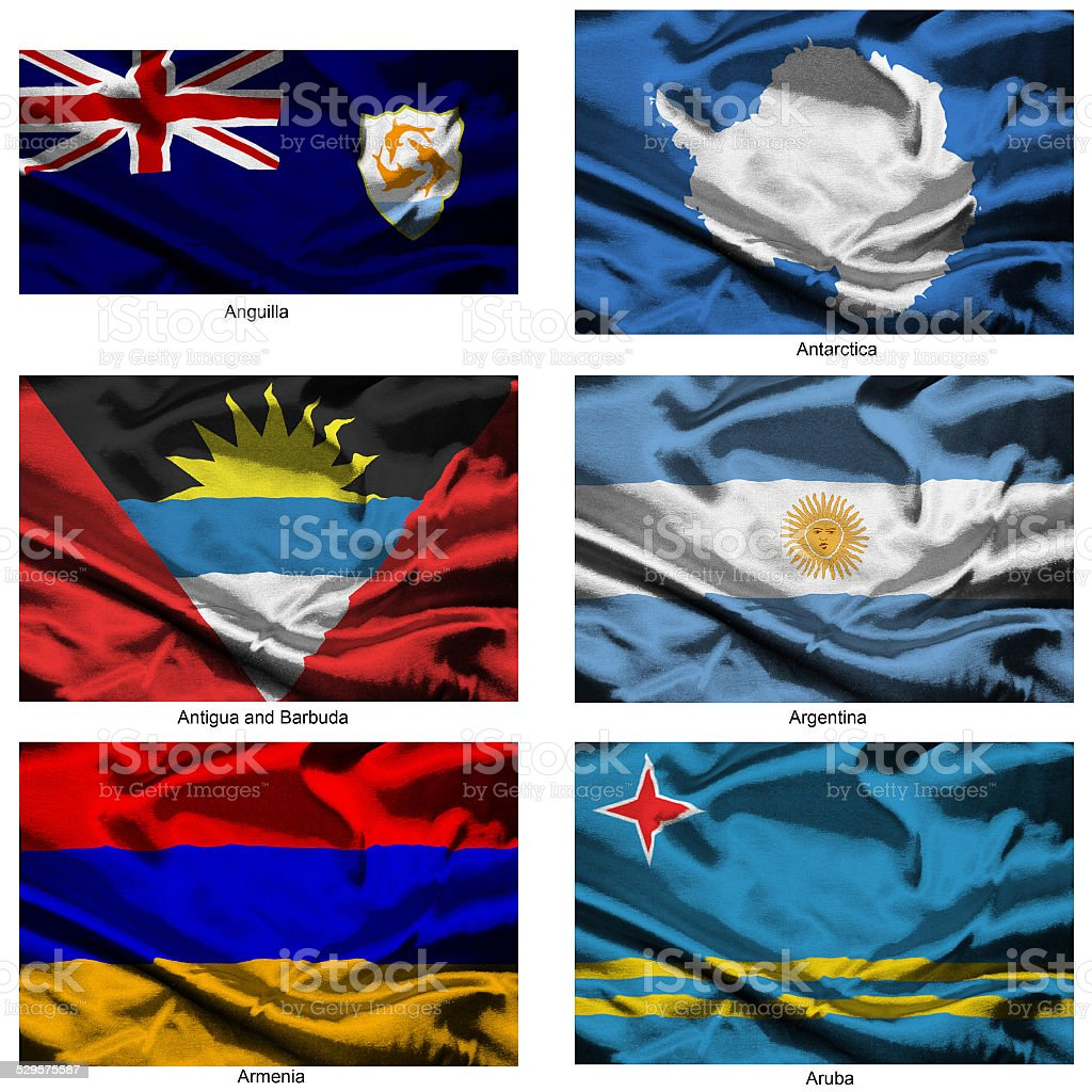 fabric world flags collection 02 stock photo
