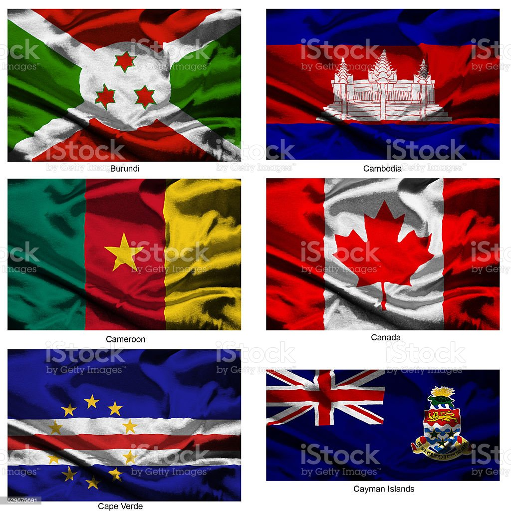 fabric world flags collection 07 stock photo