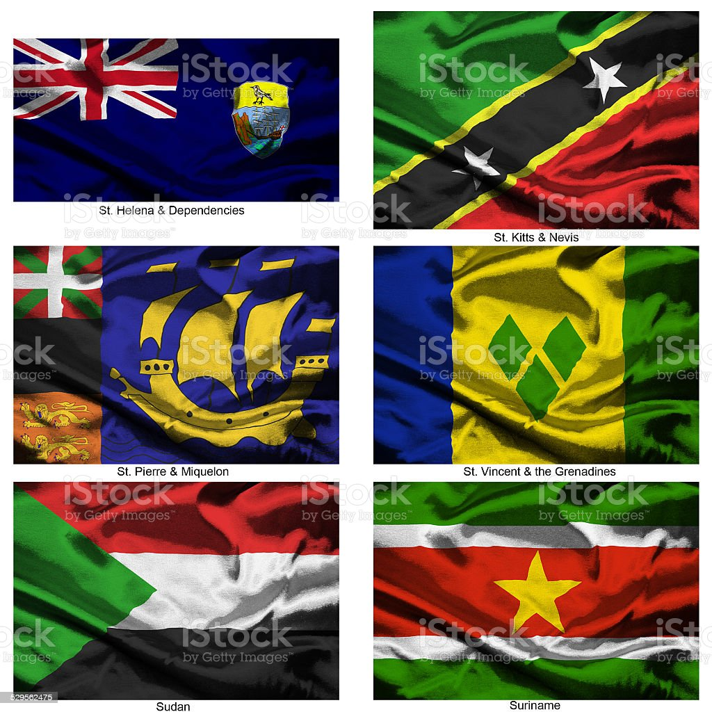 fabric world flags collection 36 stock photo