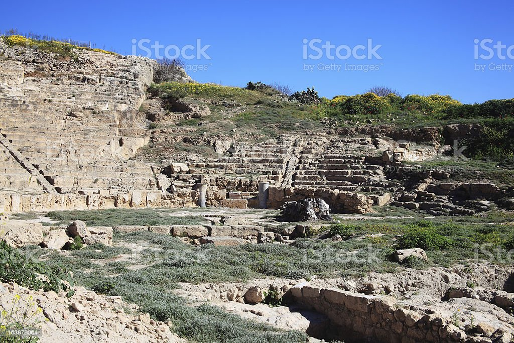 Fabrica Hill Amphitheatre, Paphos, Cyprus stock photo