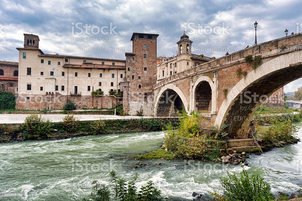 Fabricius Bridge and Tiber Island in Rome. stock photo