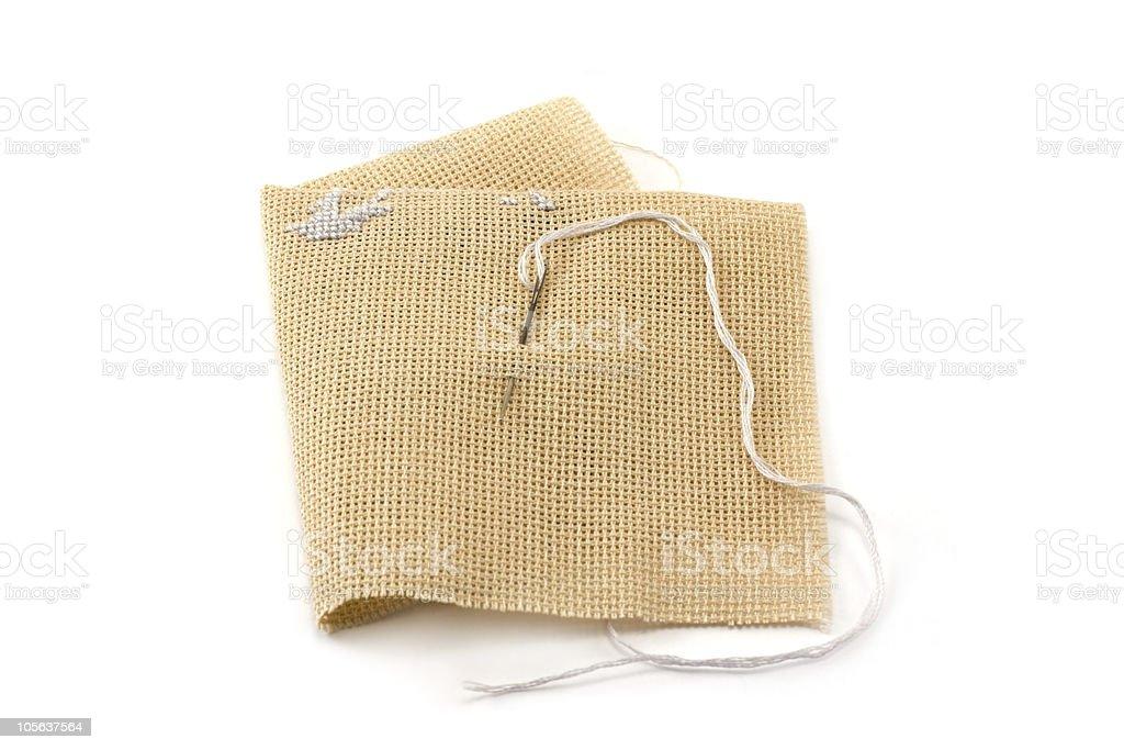 Fabrics, flax, needle with threaâ royalty-free stock photo