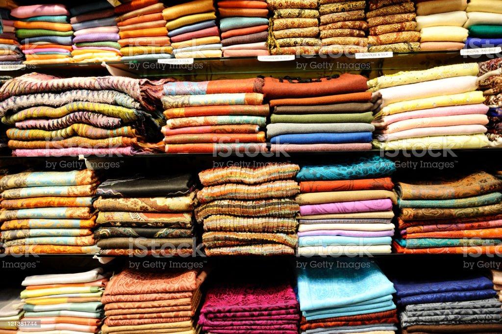 Fabrics in store royalty-free stock photo