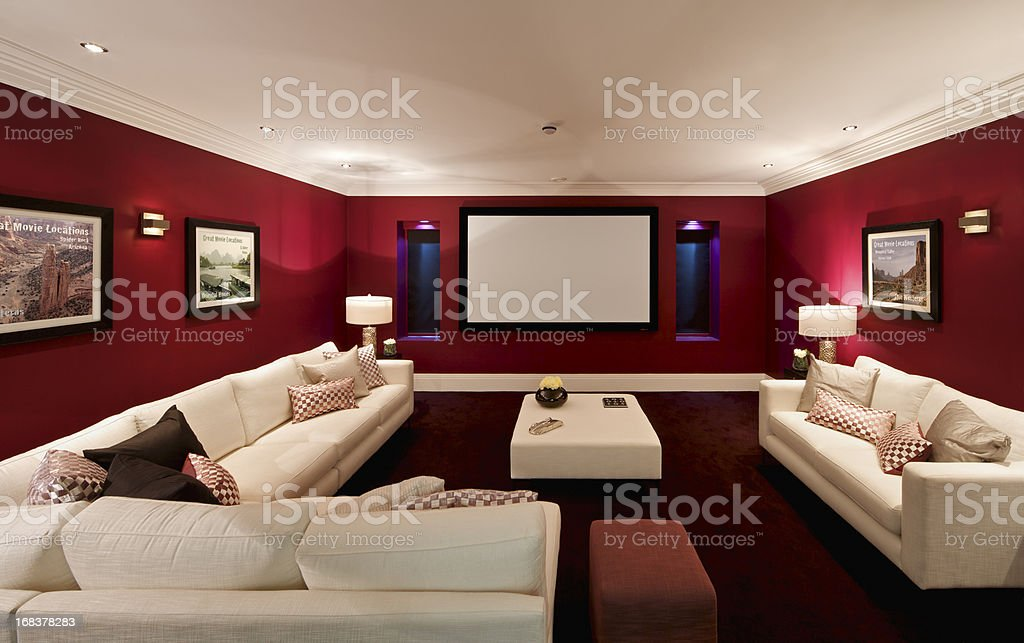 fabulous cinema room stock photo