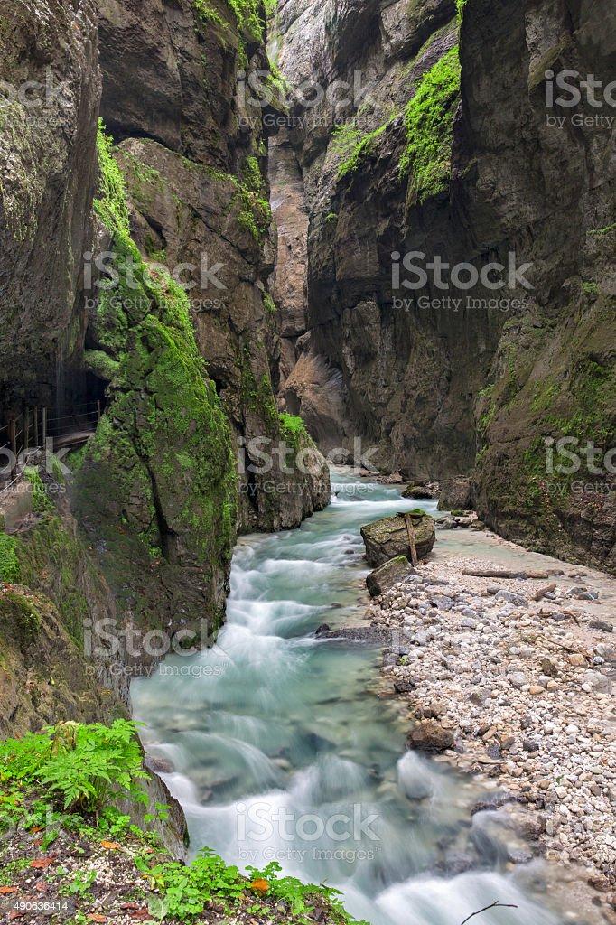 Fabulous gorge and mountain river Partnachklamm stock photo