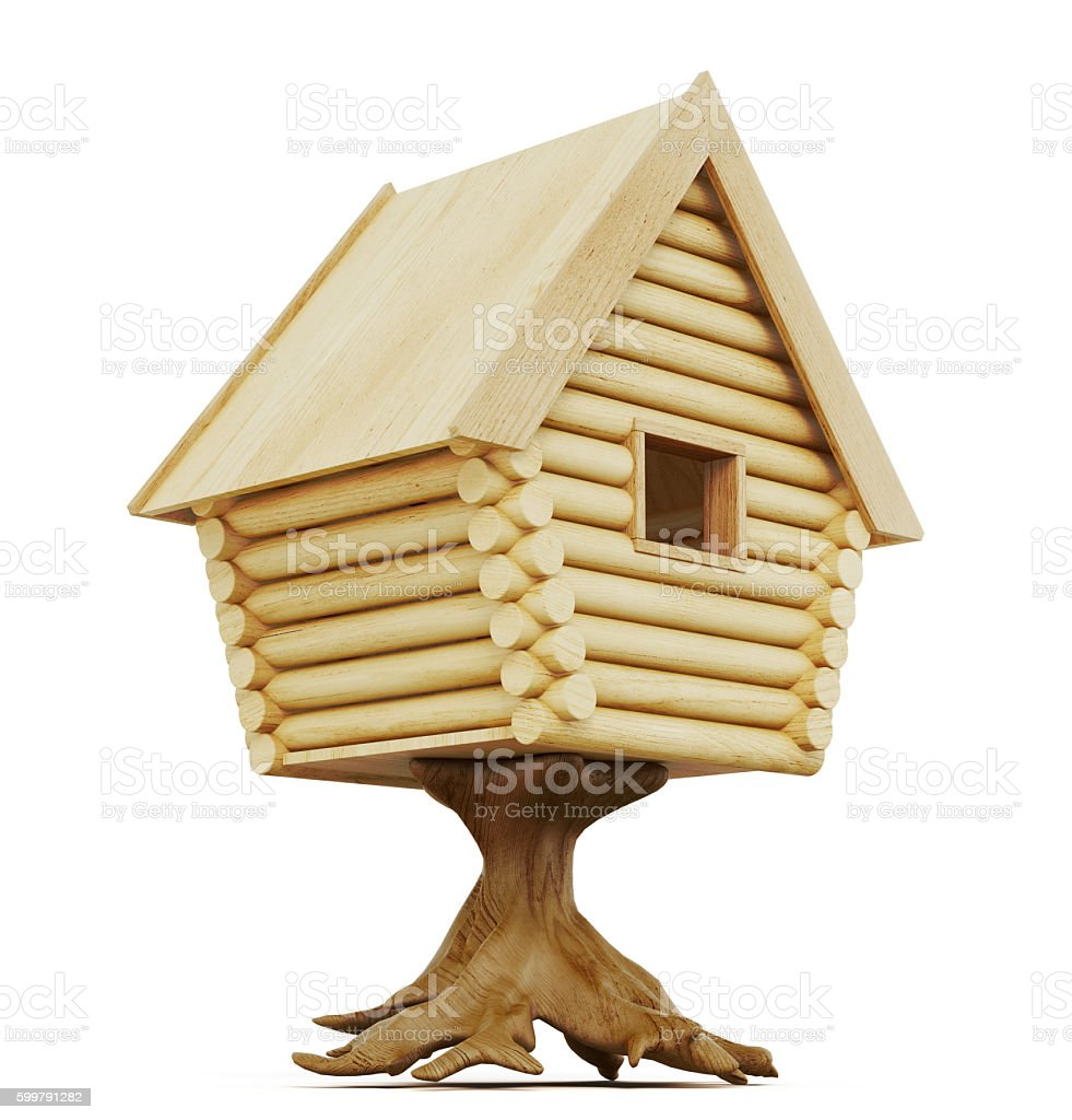 Fabulous hut on a stump isolated on a white background stock photo