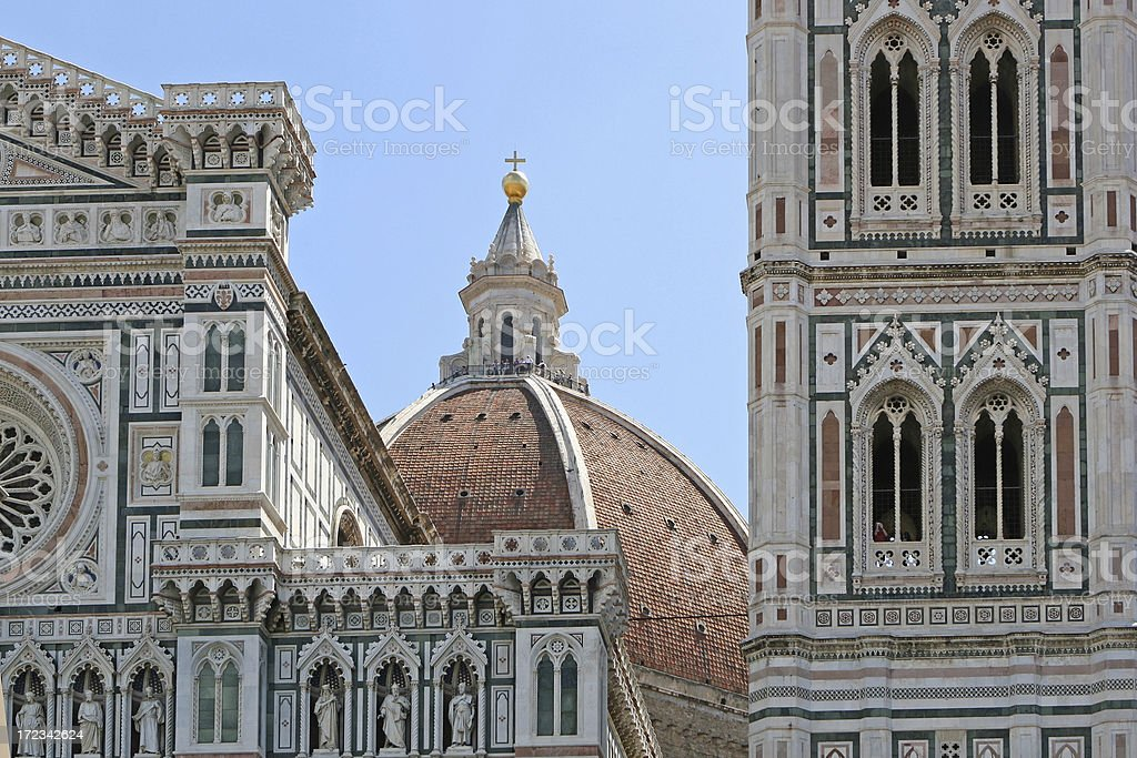Facade and cupola of Il Duomo in Florence stock photo
