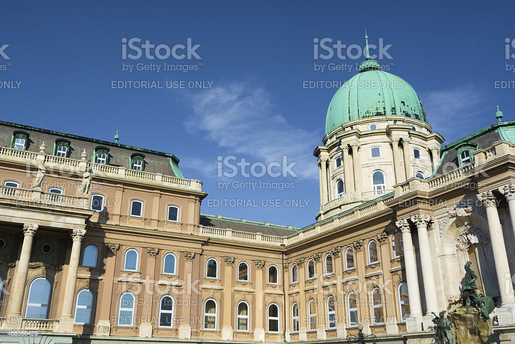 Facade and dome of Buda Castle in Budapest, Hungary stock photo