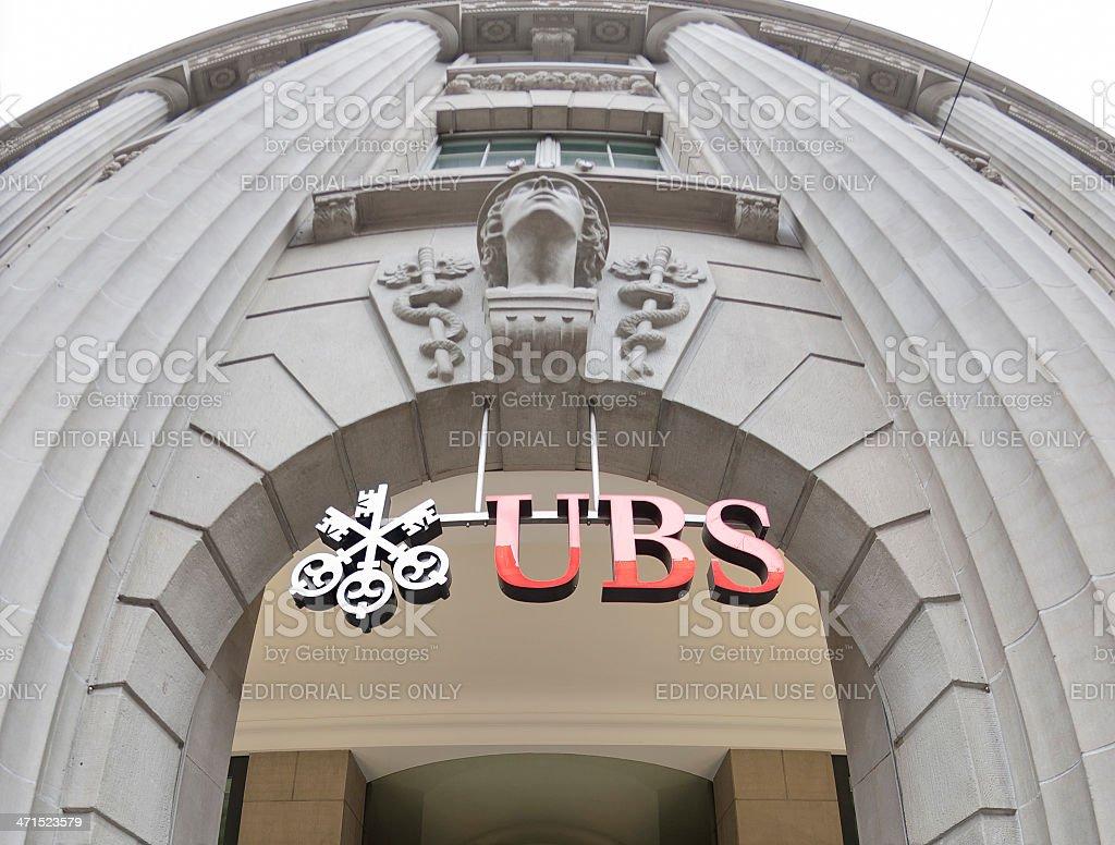 Facade and logo of UBS bank office stock photo