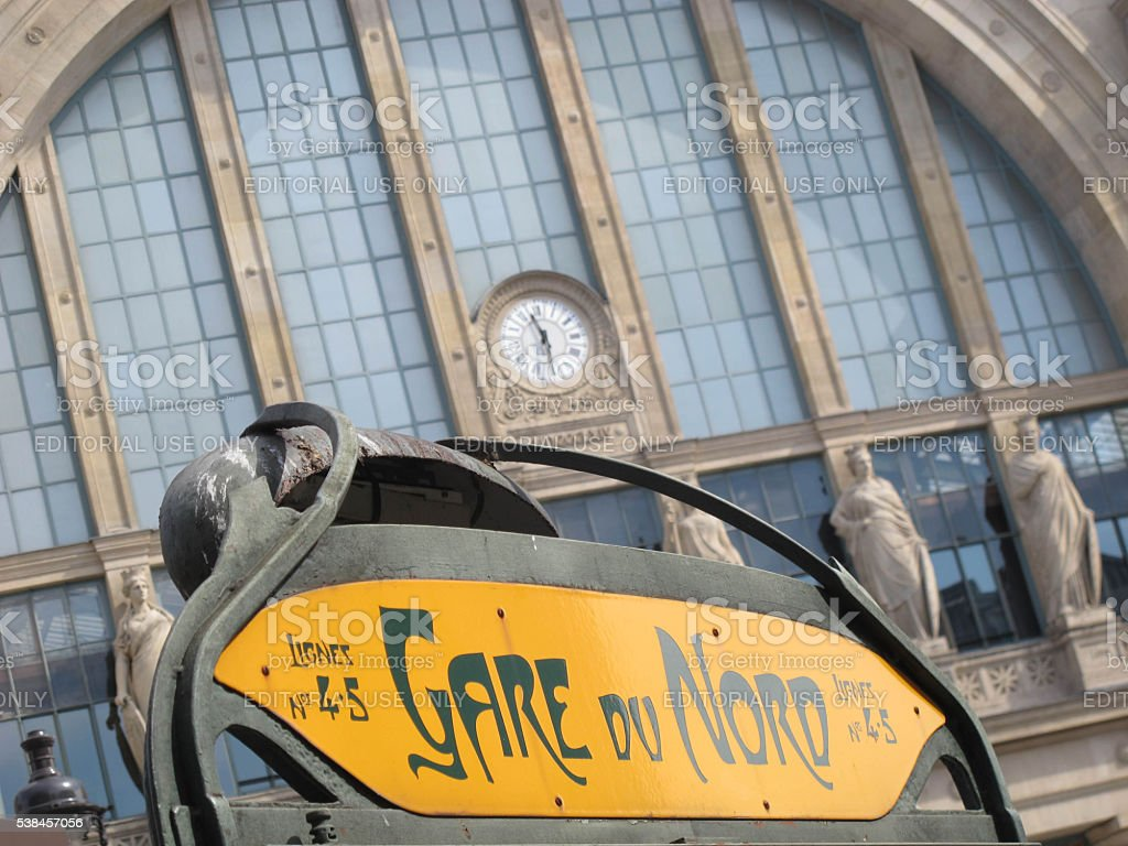 Facade and sign at the Gare du Nord stock photo