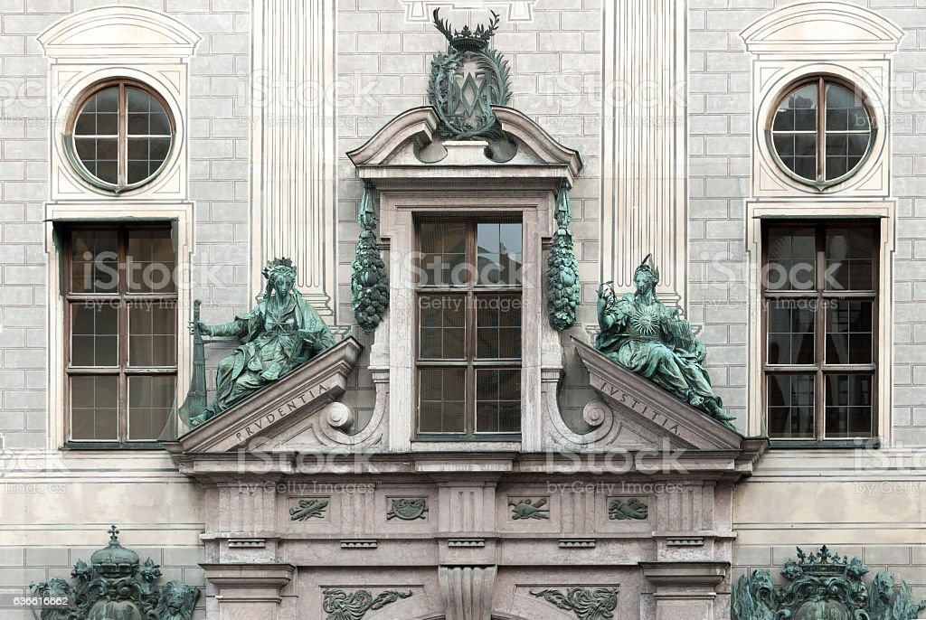 Facade and statuary of the Munich Residence stock photo