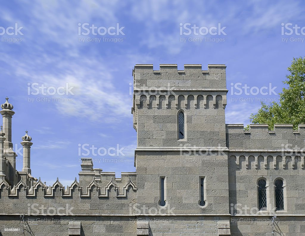 Facade and tower ancient castle royalty-free stock photo