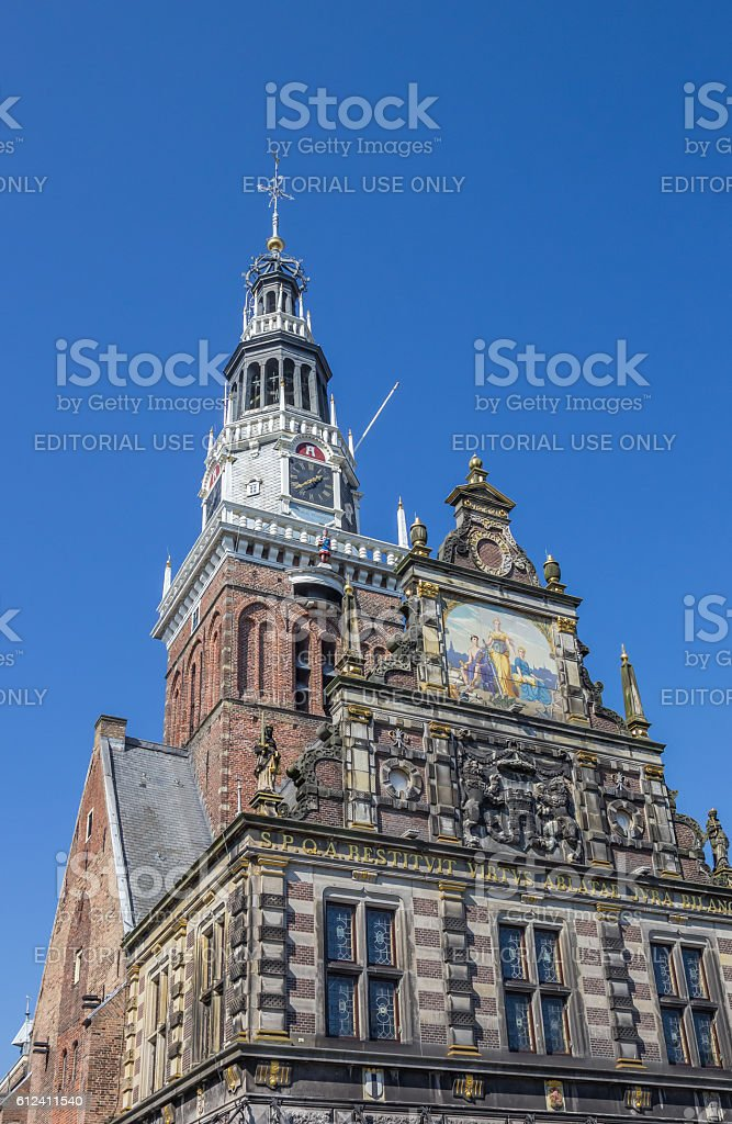Facade and tower of the weigh house in Alkmaar stock photo