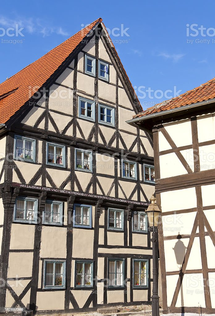 Facade and windows of half-timbered houses. stock photo