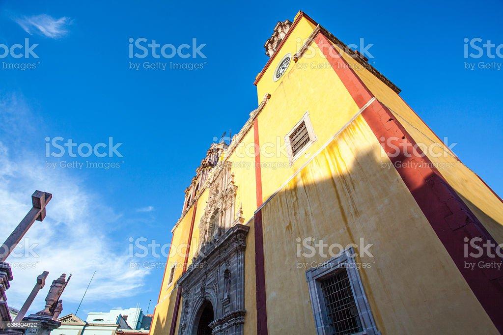 Facade - Basilica Nuestra Senora de Guanajuato church, Guanajuato,  Mexico stock photo