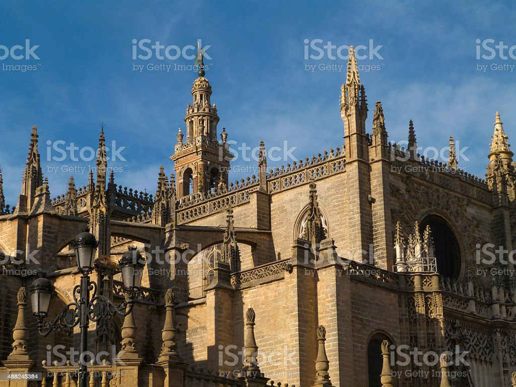 Facade Cathedral of Seville stock photo