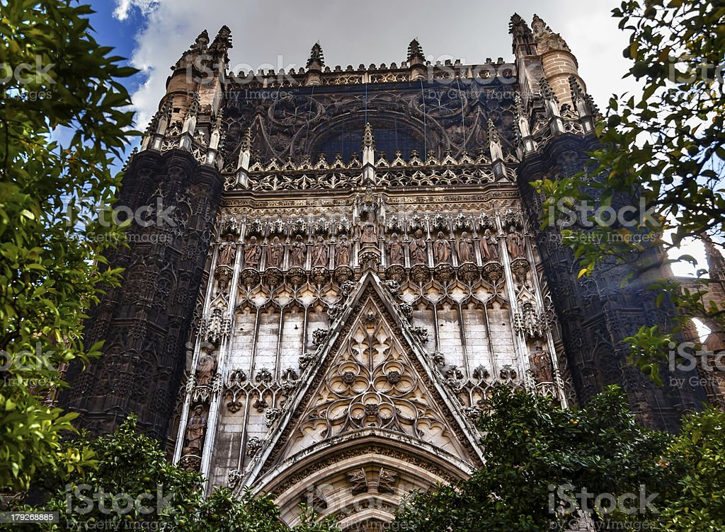 Facade Christ Disciples Statues Seville Cathedral Spain royalty-free stock photo