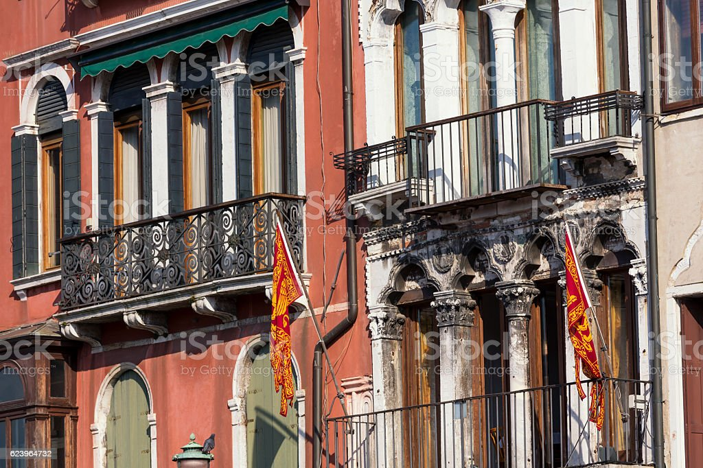 Facade detail on the Grand Canal buildings in Venice stock photo