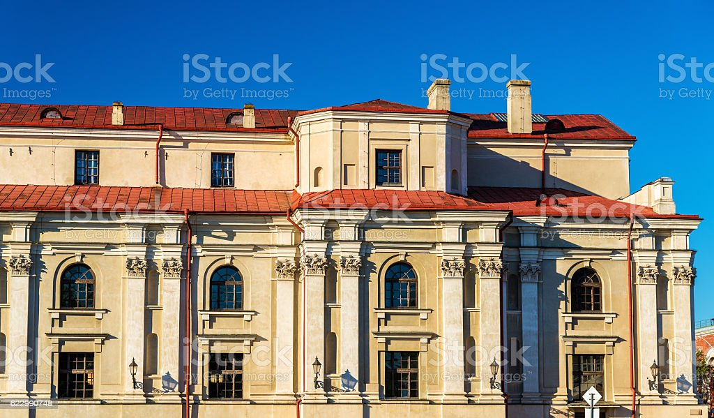 Facade details of a building in Zamosc - Poland stock photo