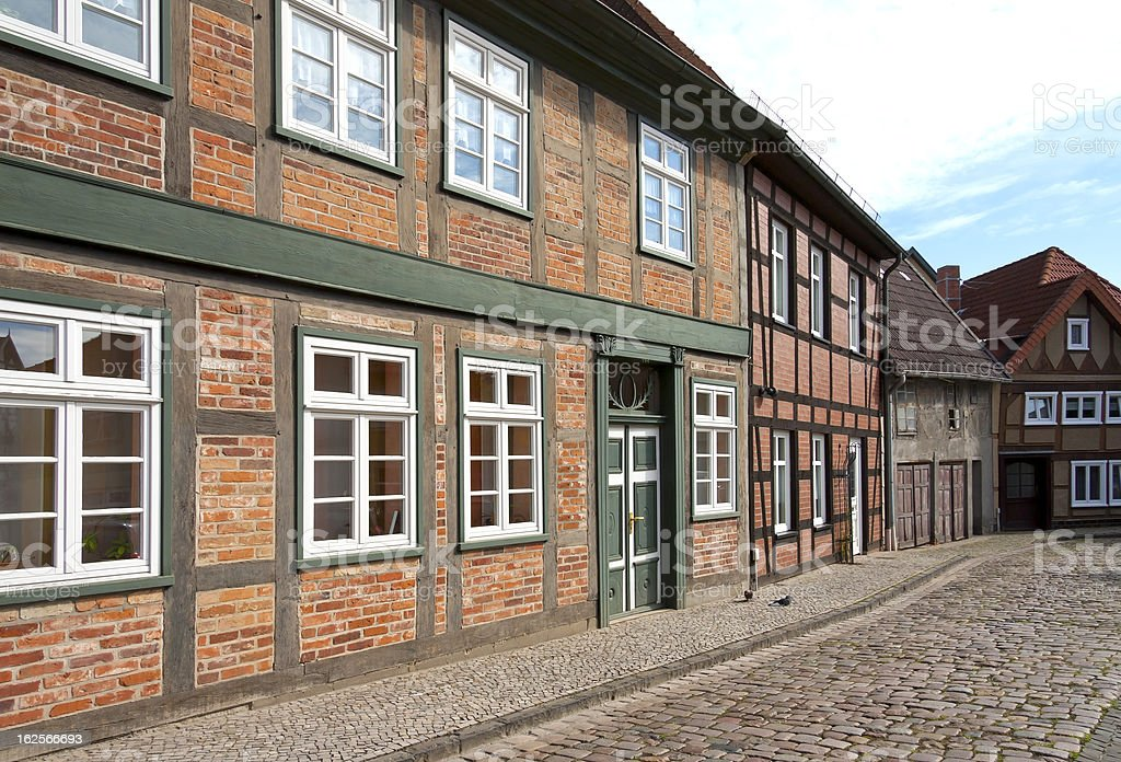 Facade, door and windows of half-timbered houses. royalty-free stock photo