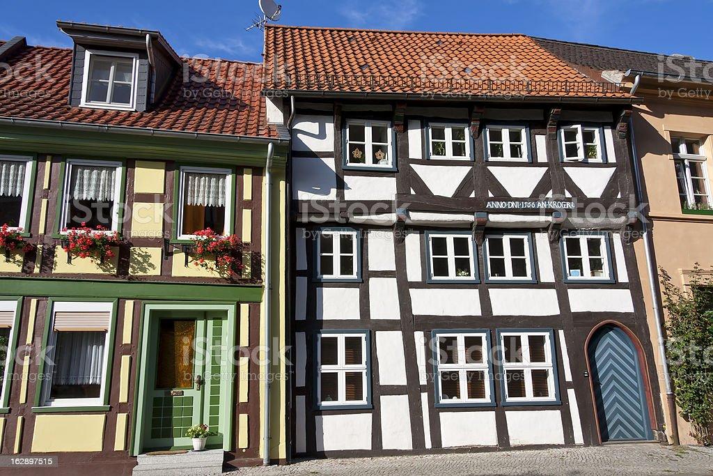 Facade, door and windows of half-timbered houses. stock photo