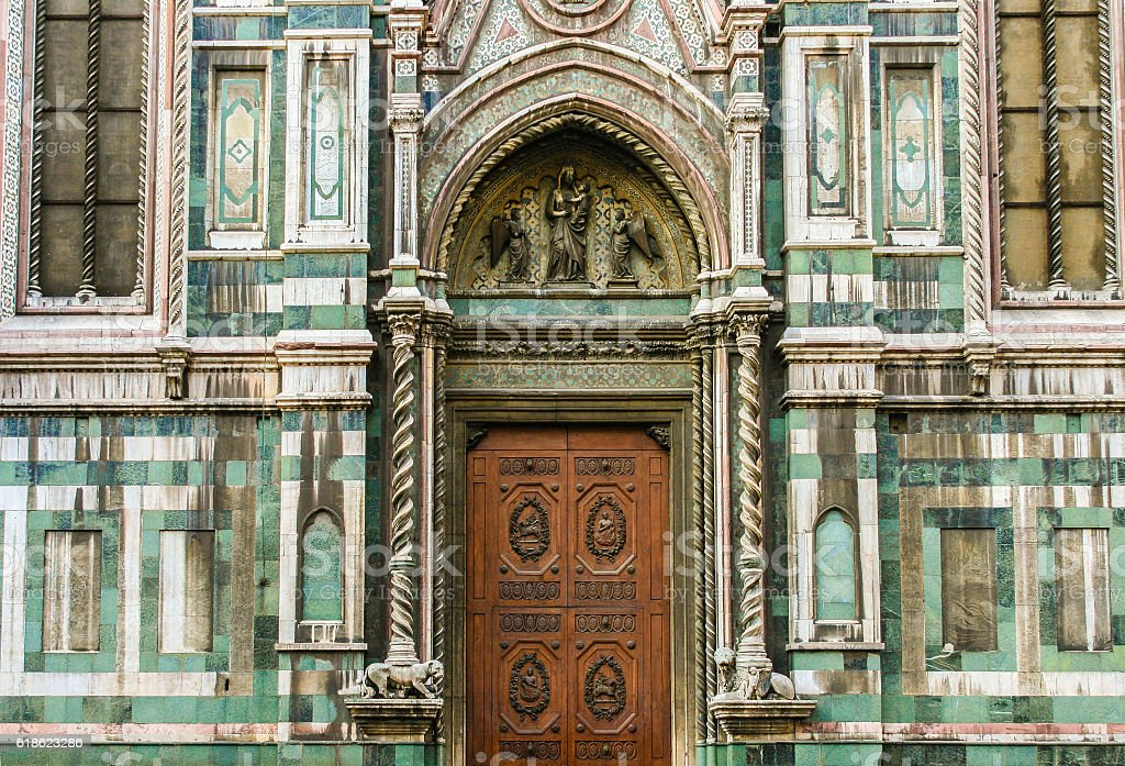 Facade Door of the Duomo (Florence Cathedral), Florence, Italy. stock photo