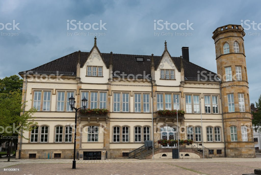 Facade historical city hall in horn, Lipperland, east Westphalians stock photo