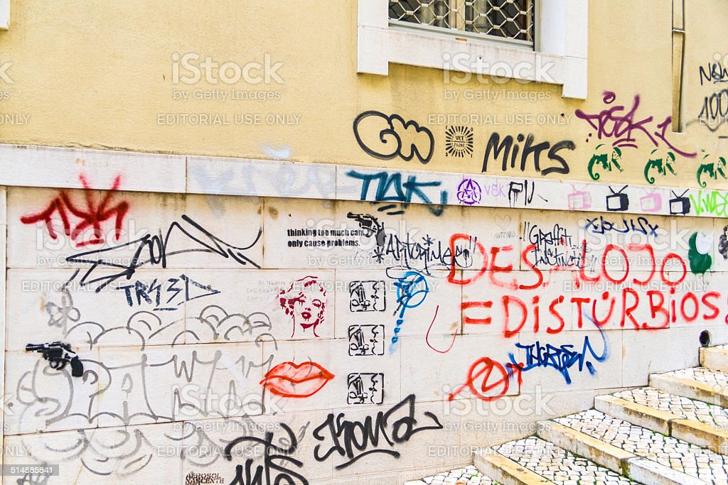 facade in old town with graffiti in Lisbon stock photo
