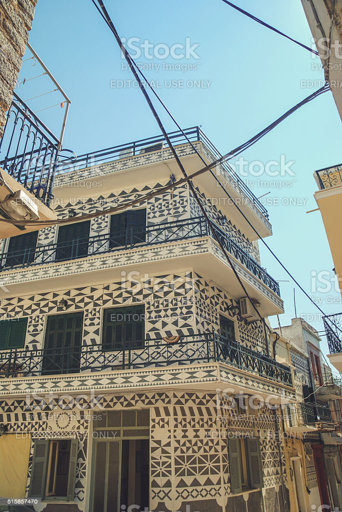 Facade in Pyrgi town on Chios, Greece stock photo