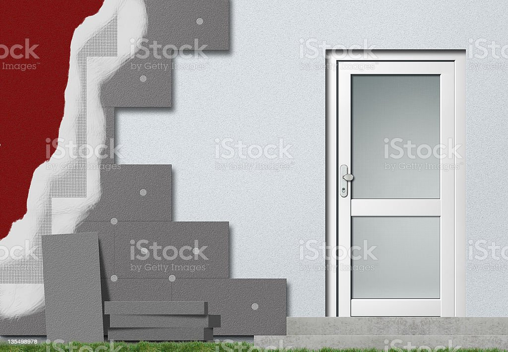 facade insulation steps royalty-free stock photo