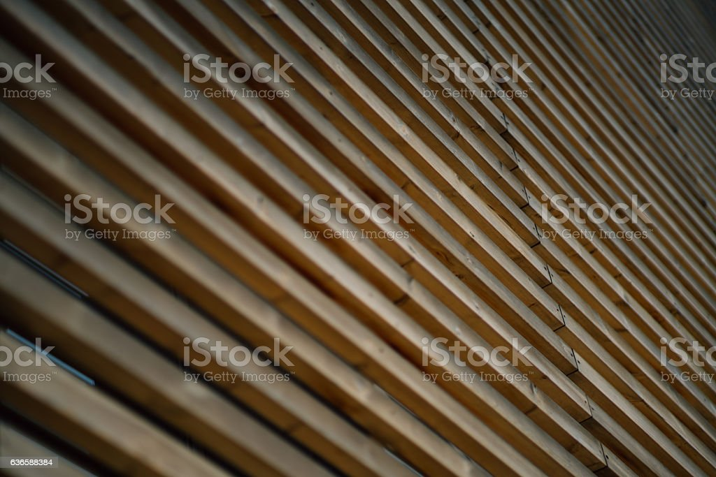 Facade made of wooden stripes stock photo