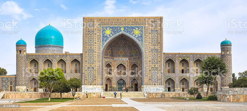 Facade madrasas in Registan Square in Samarkand stock photo