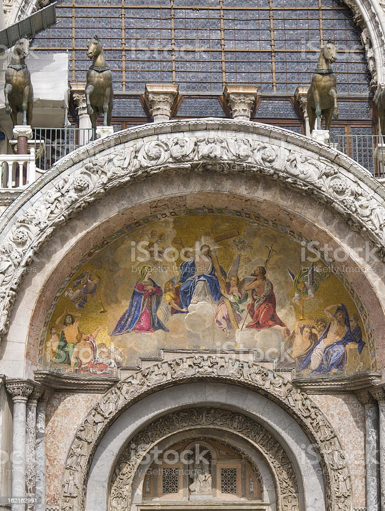 Facade mosaics at St. Mark's Cathedral of Venice royalty-free stock photo