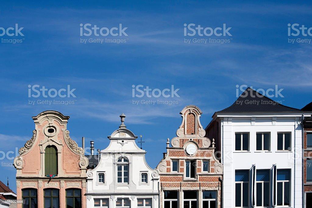 Facade of 18th century buildings in Mechelen, Belgium. stock photo