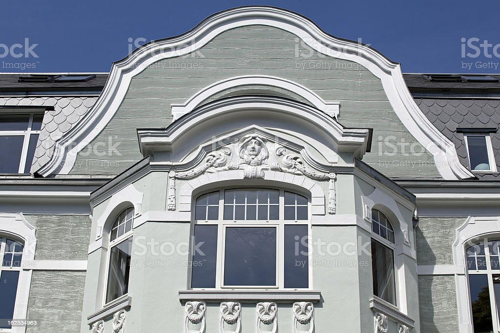 Facade of a art nouveau apartment building in Kiel, Germany royalty-free stock photo