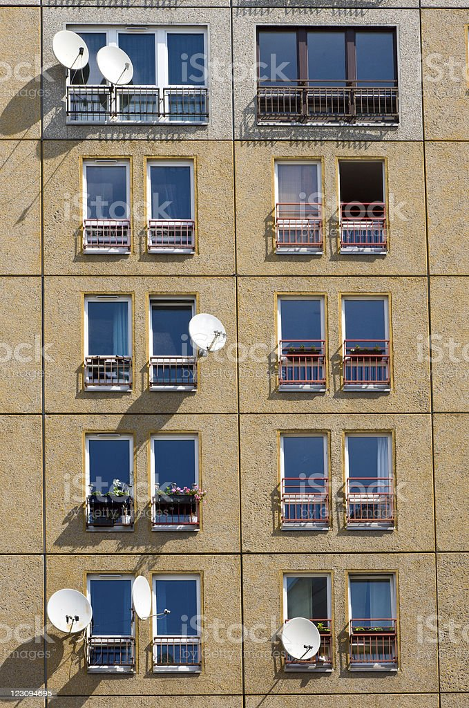 Facade of a building built in GDR-times royalty-free stock photo