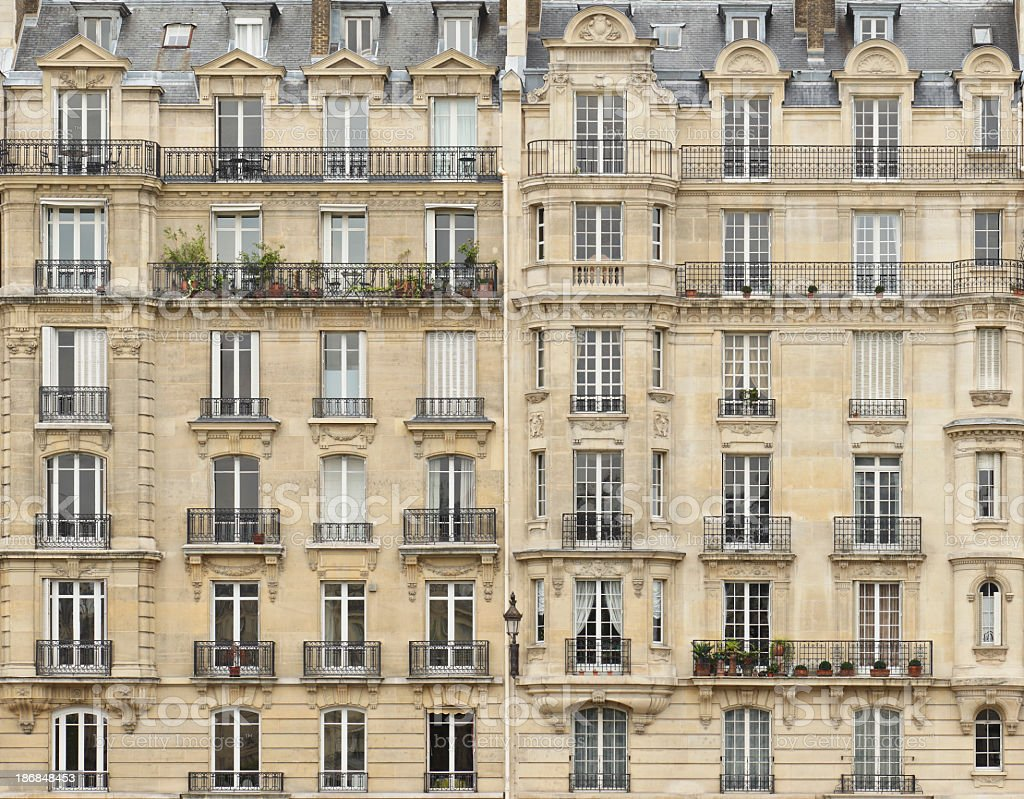 Facade of a building in Paris, France royalty-free stock photo