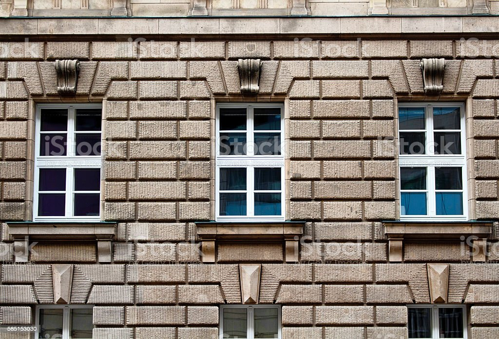 Facade of a building showing architectural style in Berlin stock photo