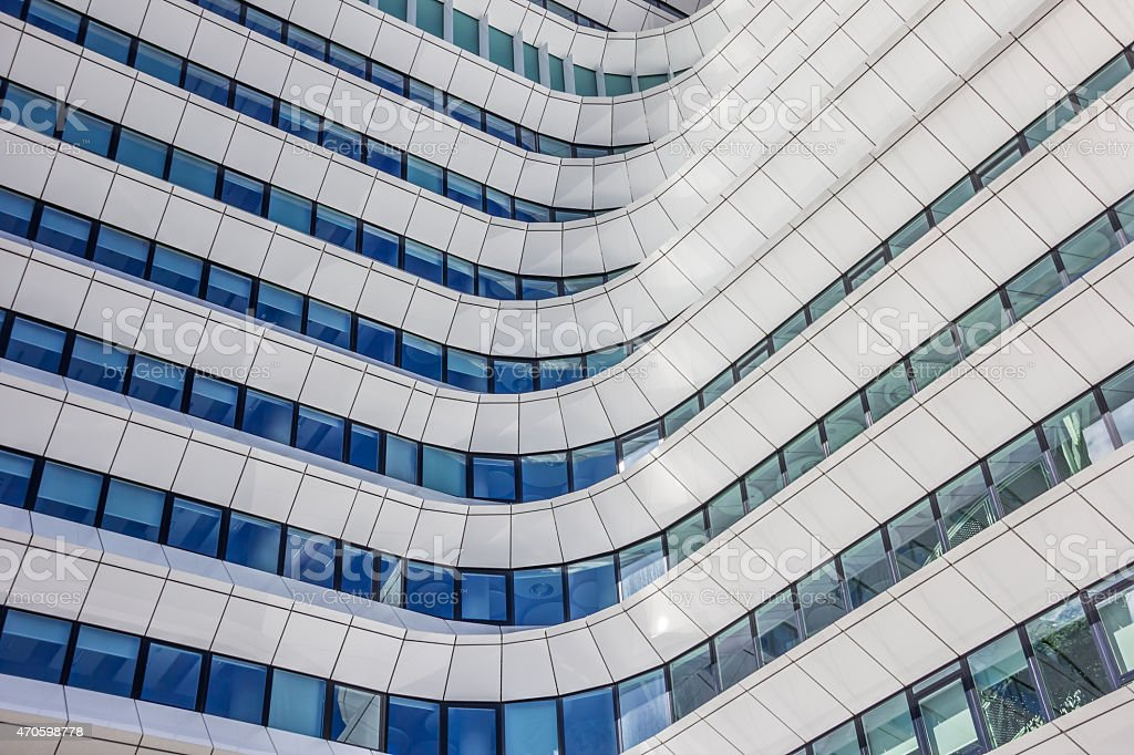 Facade of a comtemporary office building in Groningen stock photo