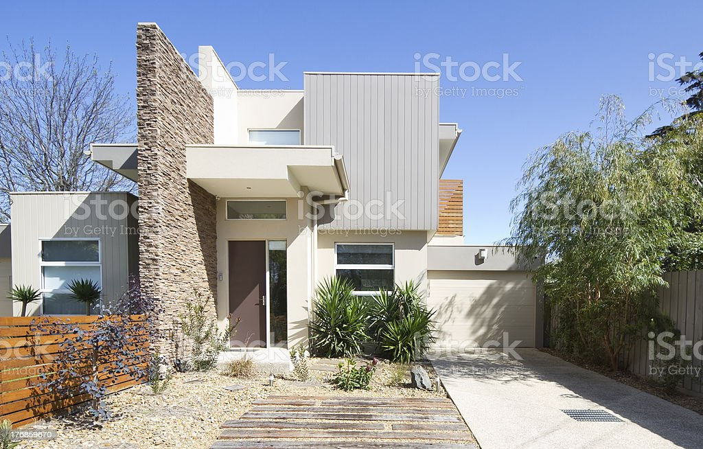 Facade of a contemporary townhouse home stock photo