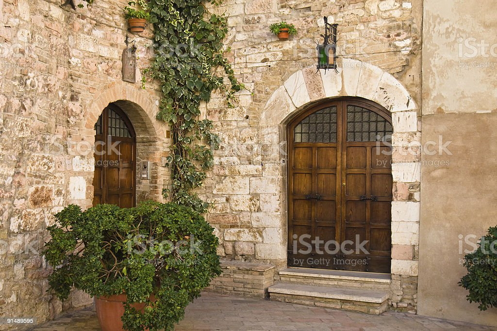 Facade of a medieval-looking Italian house royalty-free stock photo