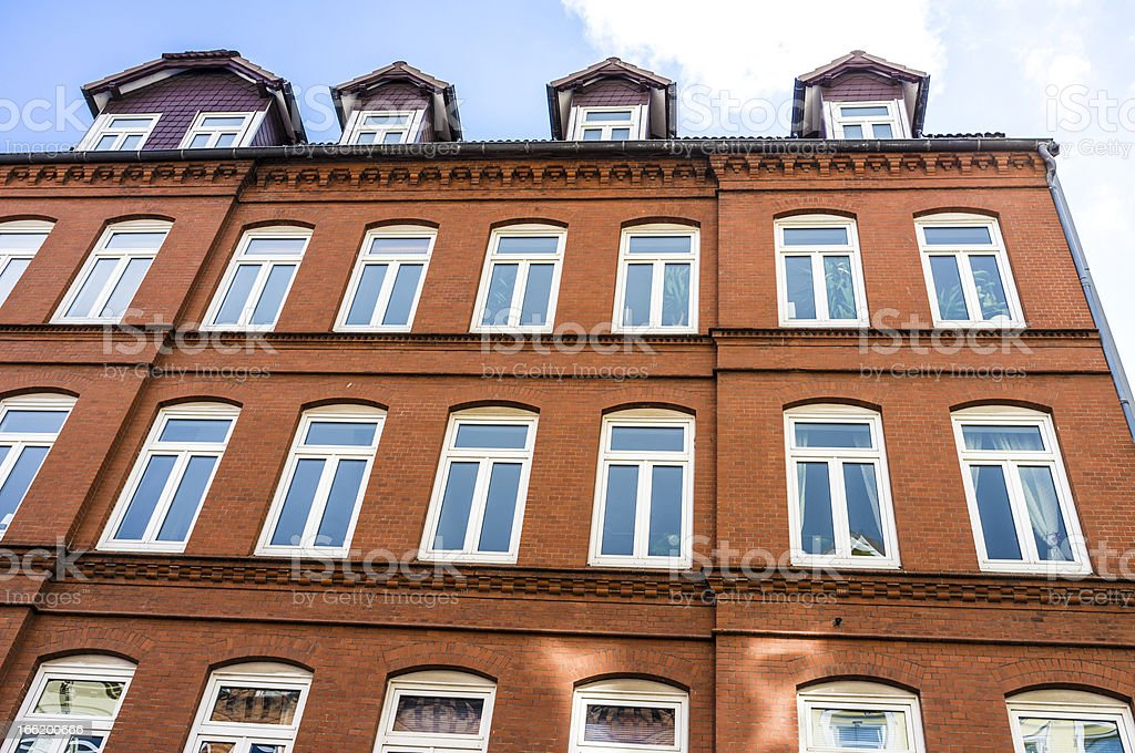Facade of a modern apartment building in Kiel, Germany stock photo